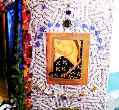Detail of diorama, 2008. Cigar box, magazine clippings, CD fragments, sequins, paper, plastic trees, paint, bottle caps, cellophane.